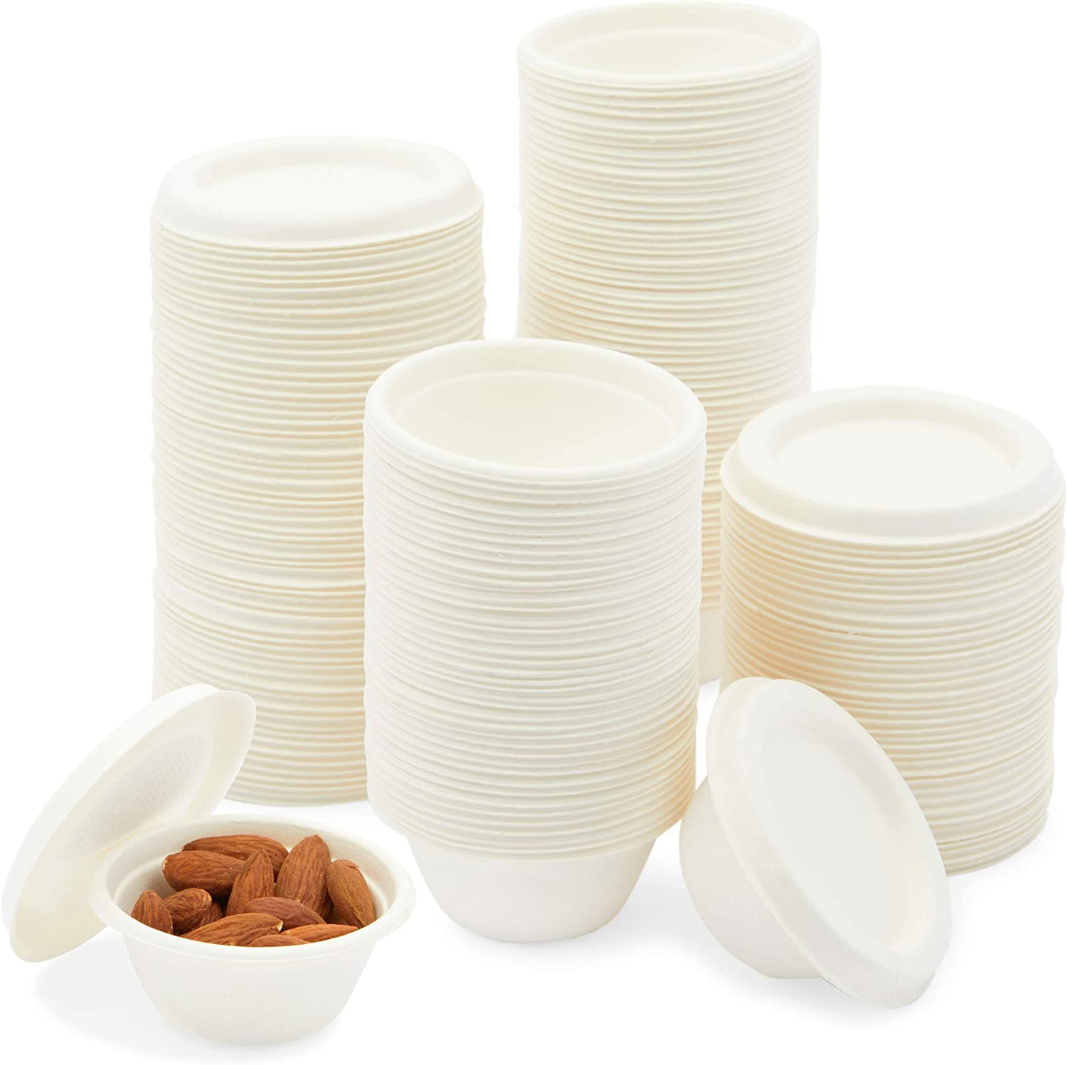 Bagasse Cups with Lids, 2 oz To Go Food Portion Containers (200 Pieces)
