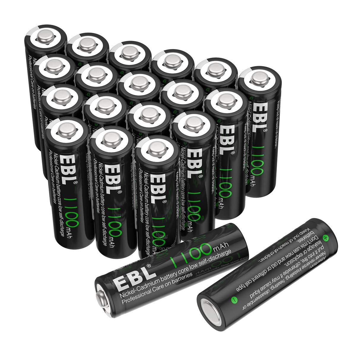 EBL AA Rechargeable Batteries for Solar Lights Replacement, 1100mAh High Capacity Ni-CD Battery (Pack of 20) by EBL