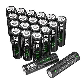 Amazon.com: EBL AA 1100 mAh, Ni-Cd Baterías Recargables, 20 ...