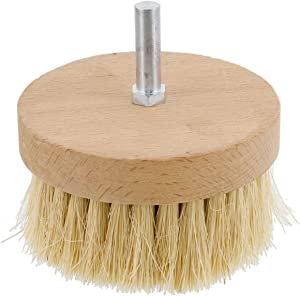 """US Art Supply 4"""" Wide Chalk and Wax Buffing Brush with 3/8"""" Drill Arbor - Unique Beechwood Base Design Prevents Water Damage, All Natural 1-1/4"""" Bristles"""