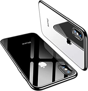 TORRAS Crystal Clear iPhone Xs Case/iPhone X Case [10X Anti-Yellowing] [2X Anti-Scratch] Thin Slim Soft Silicone Shockproof Phone Case for Apple iPhone Xs/X, Black
