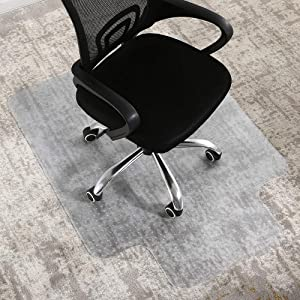 FAIRYLAND PVC Office Chair Mat for Carpet,Protects Floors,with Lip,Heavy Duty,Easy to Be Expanded,Floor Mats for Computer Desk,36 x 48 inch