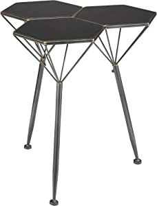 Design Toscano Geo Hex Honeycomb Modern Side Table, 24 Inches, black