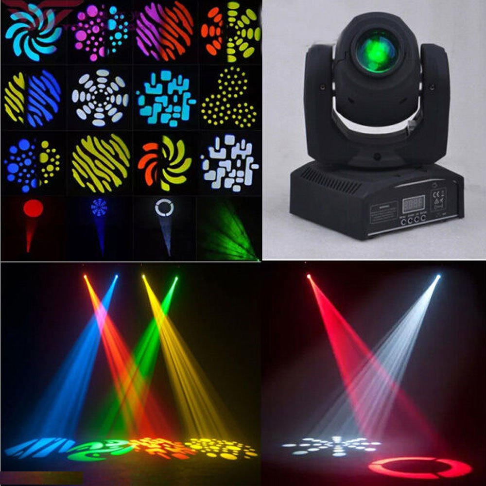 Sumger Ship by DHL DMX-512 Mini Moving Head Light RGBW LED Stage PAR Light with Shapes Automatic Professional 9/11 Channel Party Disco Show 40W AC 100-240V Sound Active by Sumger