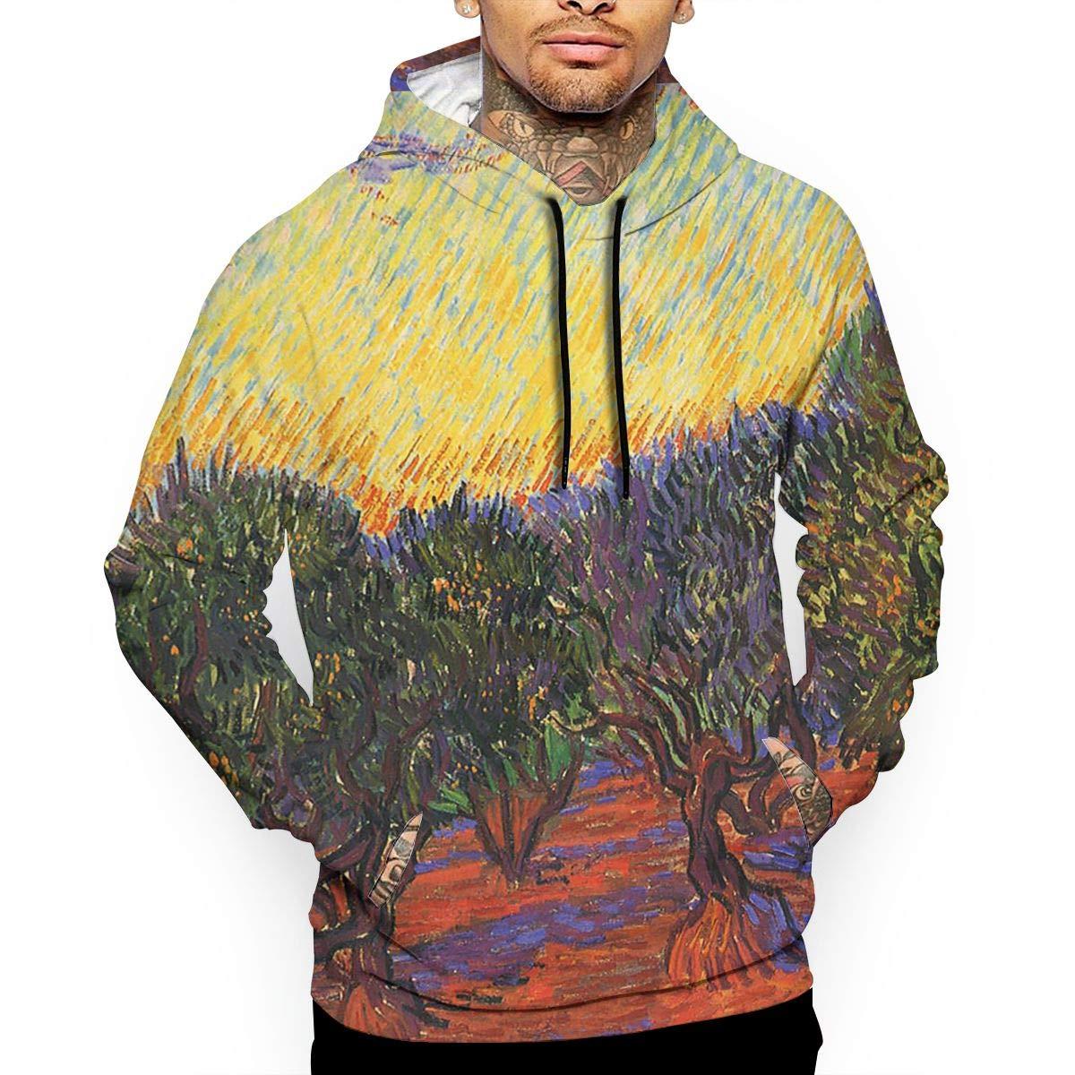YUANSHAN Olive Trees Mans Long Sleeve Hoodie Casual Pocket Hooded Sweatshirt