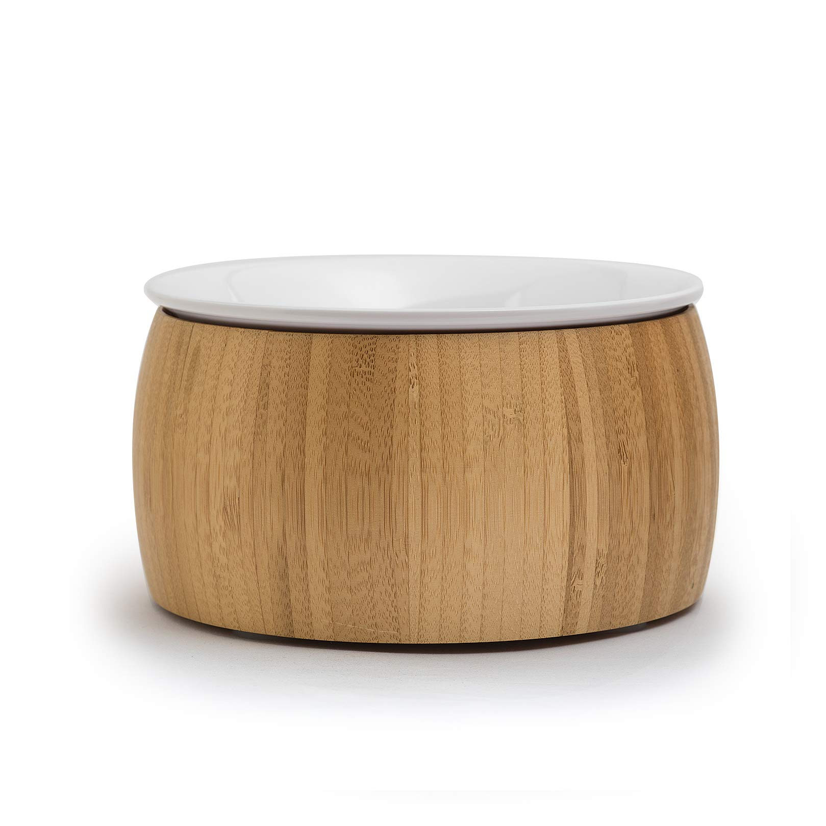 TigerLi Raised Cat Bowl with Nature Bamboo Stand with (Ceramic) Bowl 6'', Beautiful and Functional Design Pet Feeder