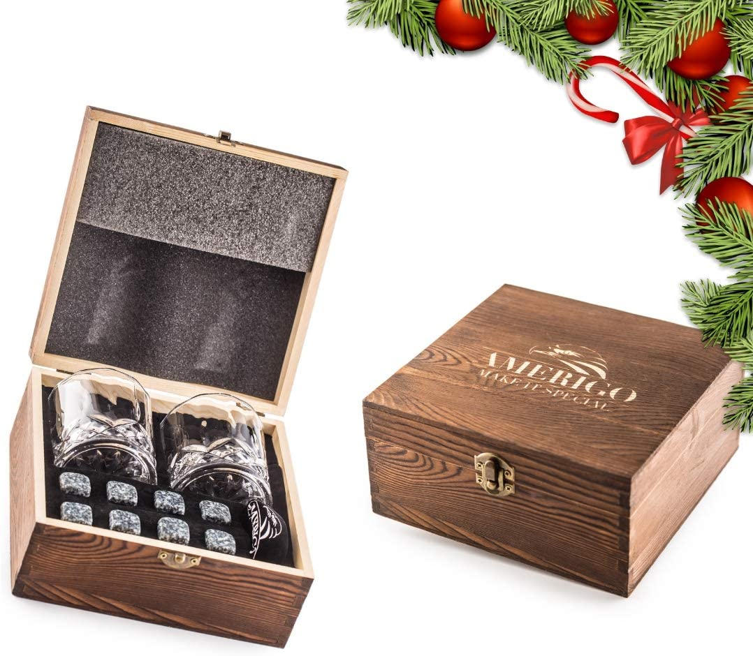 Impressive Whiskey Stones Gift Set with 2 Glasses - Be Different When Choosing a Gift - Luxury Handmade Box with 8 Granite Whisky Rocks & Velvet Bag - Ice Cubes Reusable - Best Man Gift
