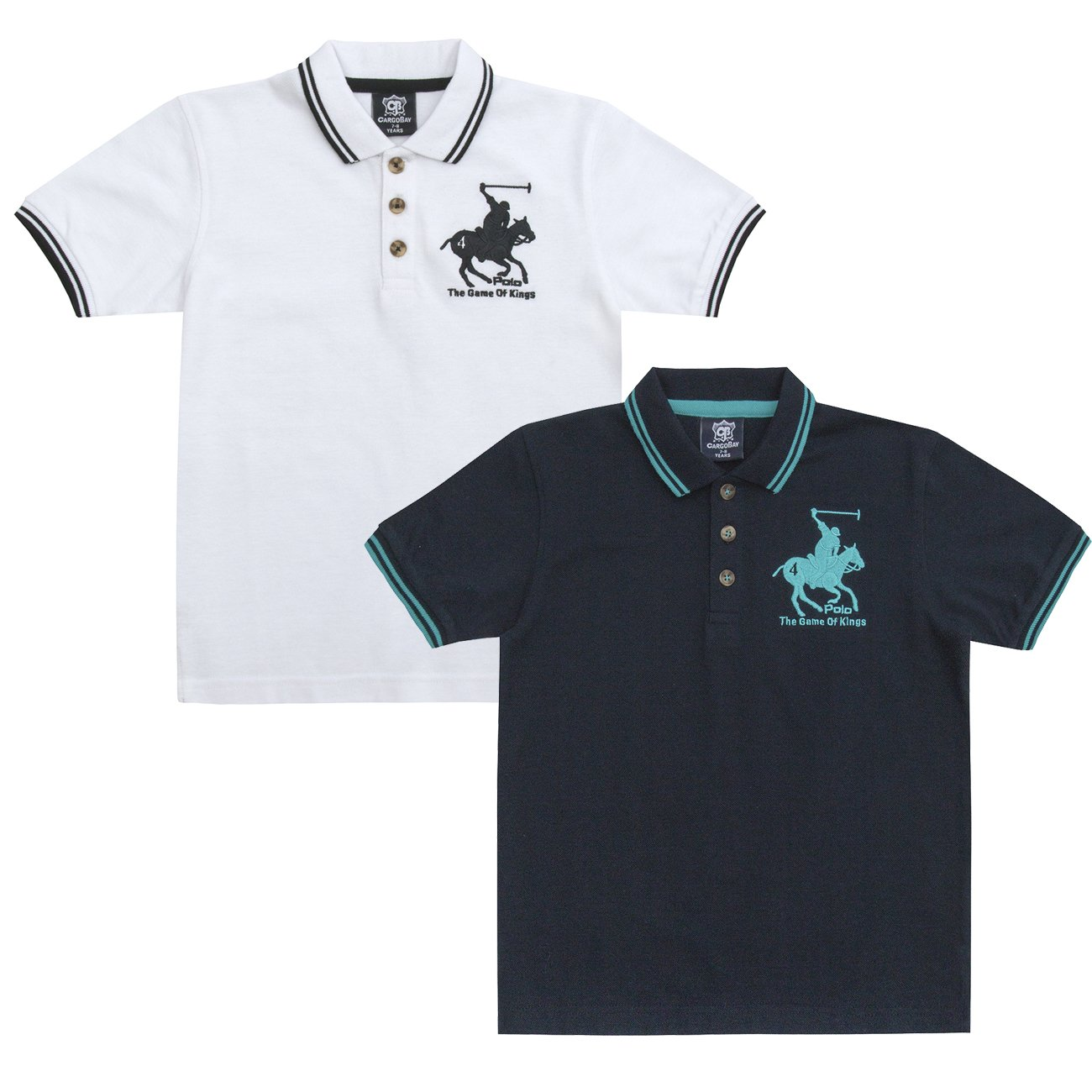 Cargo Bay Boys Logo Print Cotton Blend Polo T-Shirt with Contrasting Stripes
