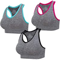 Lemef 3-Pack Seamless Sports Bra Wirefree Yoga Bra with Removable Pads for Women