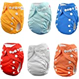 ALVABABY Pocket Newborn for Less Than 12pounds Baby Snaps Cloth Diaper Nappy 6pcs + 12 Inserts 6SVB03