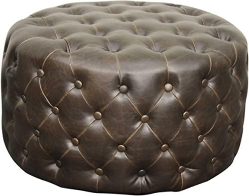 New Pacific Direct Lulu Round Bonded Leather Tufted Ottoman,Vintage Dark Brown,Fully Assembled