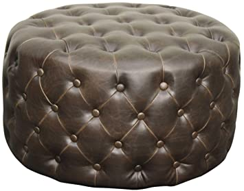 Miraculous New Pacific Direct Lulu Round Bonded Leather Tufted Ottoman Vintage Dark Brown Fully Assembled Beatyapartments Chair Design Images Beatyapartmentscom