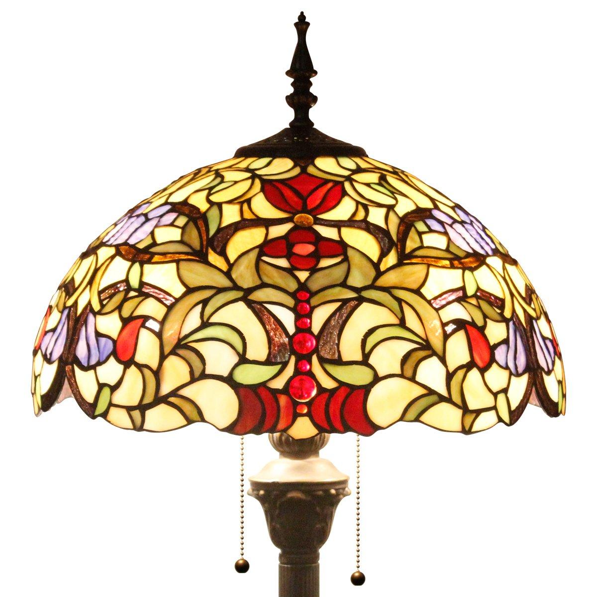 16F01S523 Tiffany style floor lamp light W16 inch sea blue dragonfly shade E26 (S512 Series)