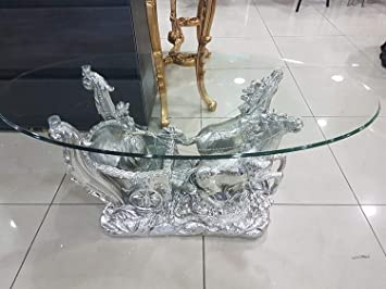 Wondrous Modernique Roman Horse Base Glass Coffee Table Italian Style Home Interior And Landscaping Ferensignezvosmurscom