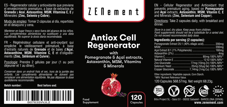 ANTIOXIDANTE REGENERADOR CELULAR, Anti-edad, 120 Cápsulas, con Granada, Açaí, Astaxantina, MSM, Vitaminas C, E y Minerales (Zinc, Selenio y Cobre) | ...