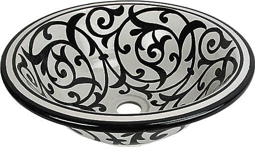 Taza Gemalt innen heraus Di 40 H 16 cm Orientalisches handbemaltes Keramik Waschbecken