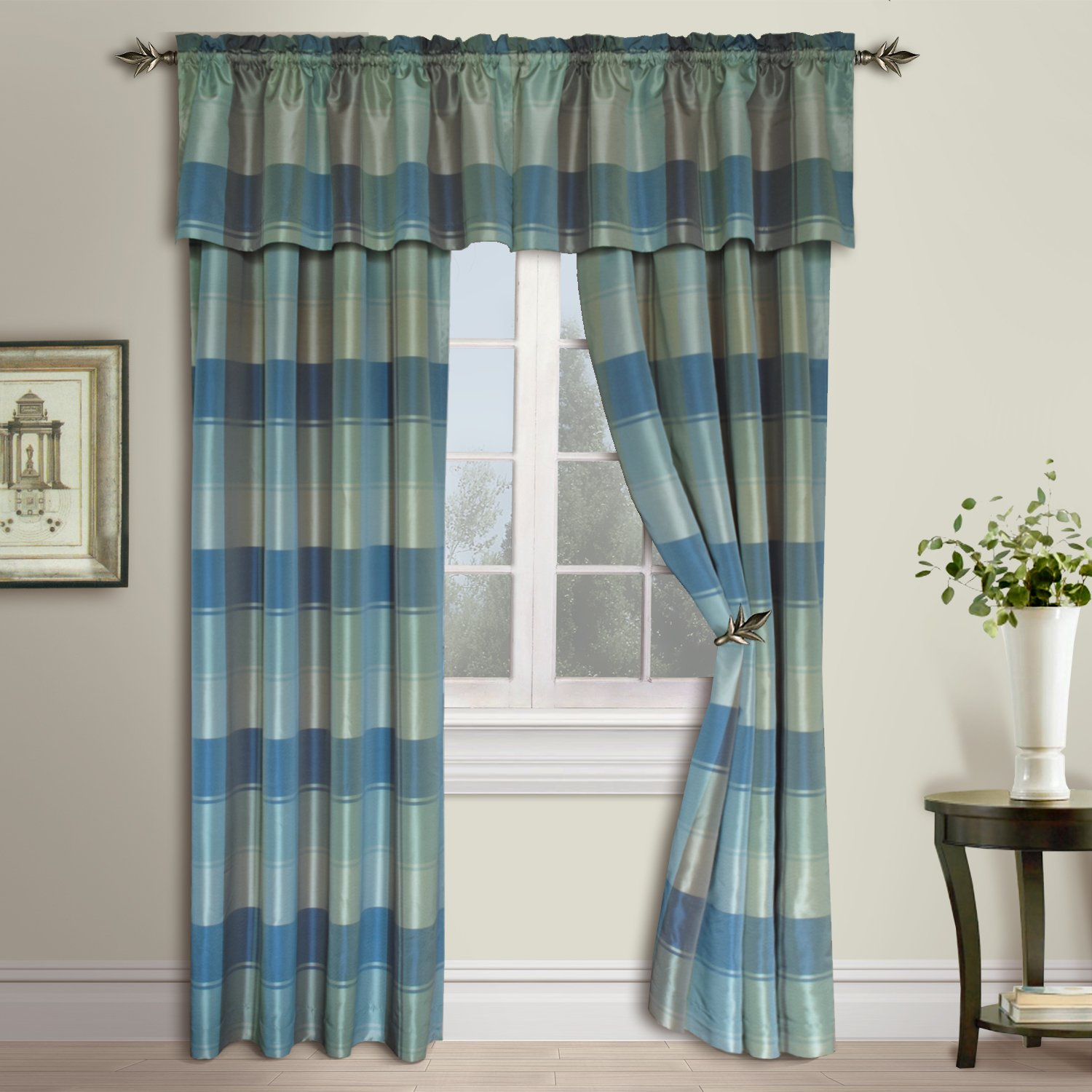 United Curtain Plaid Straight Valance, 54 by 18-Inch, Blue/Green PLVABLGR