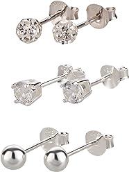 FIVE-D 3 Paar Ohrringe Set Ohrringe Kristall und Kugel 925 Silber in Geschenkbox