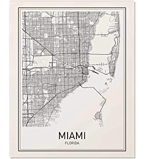 Florida City Map.Amazon Com Miami Map Poster Print Modern Black And White Wall Art