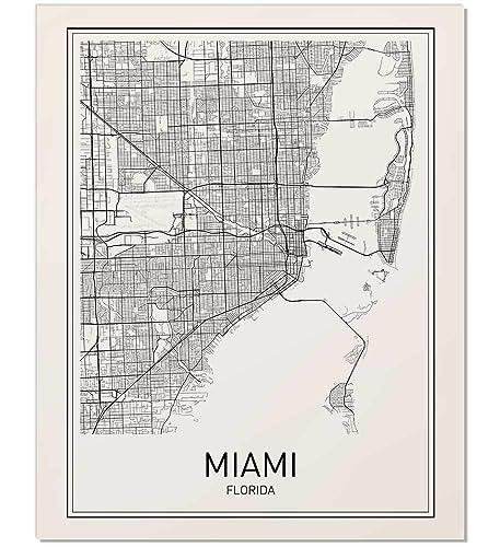 Map Miami Florida.Amazon Com Miami Map Map Miami Miami Map Art Florida Print City