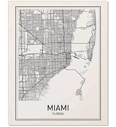 Amazon Com Miami Map Map Of Miami Miami Map Art Florida Print