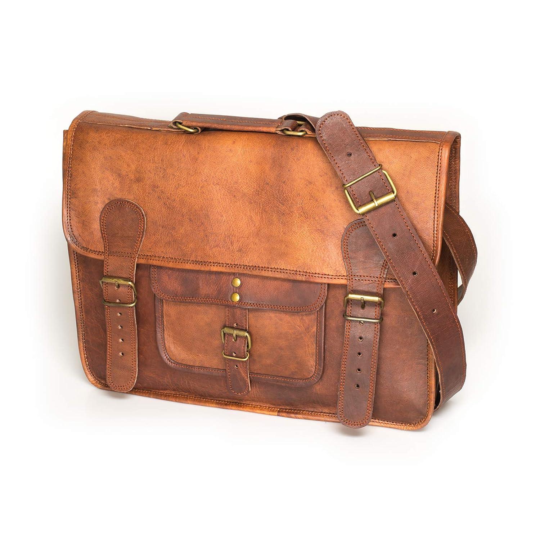 5a0a032cf204f5 NAMA 'Samuel' Schultertasche Echtes Leder 16 Zoll Messenger Bag Vintage  Aktentasche Business Tasche Unitasche Laptoptasche Umhängetasche Naturleder  Braun: ...
