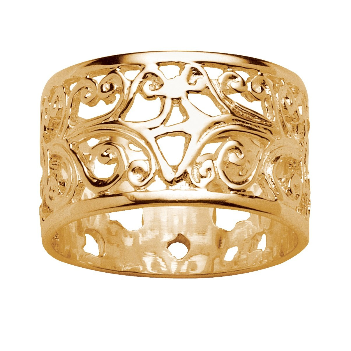 Vintage-Style Filigree 18k Gold over .925 Sterling Silver Ornate Ring Band Size 8