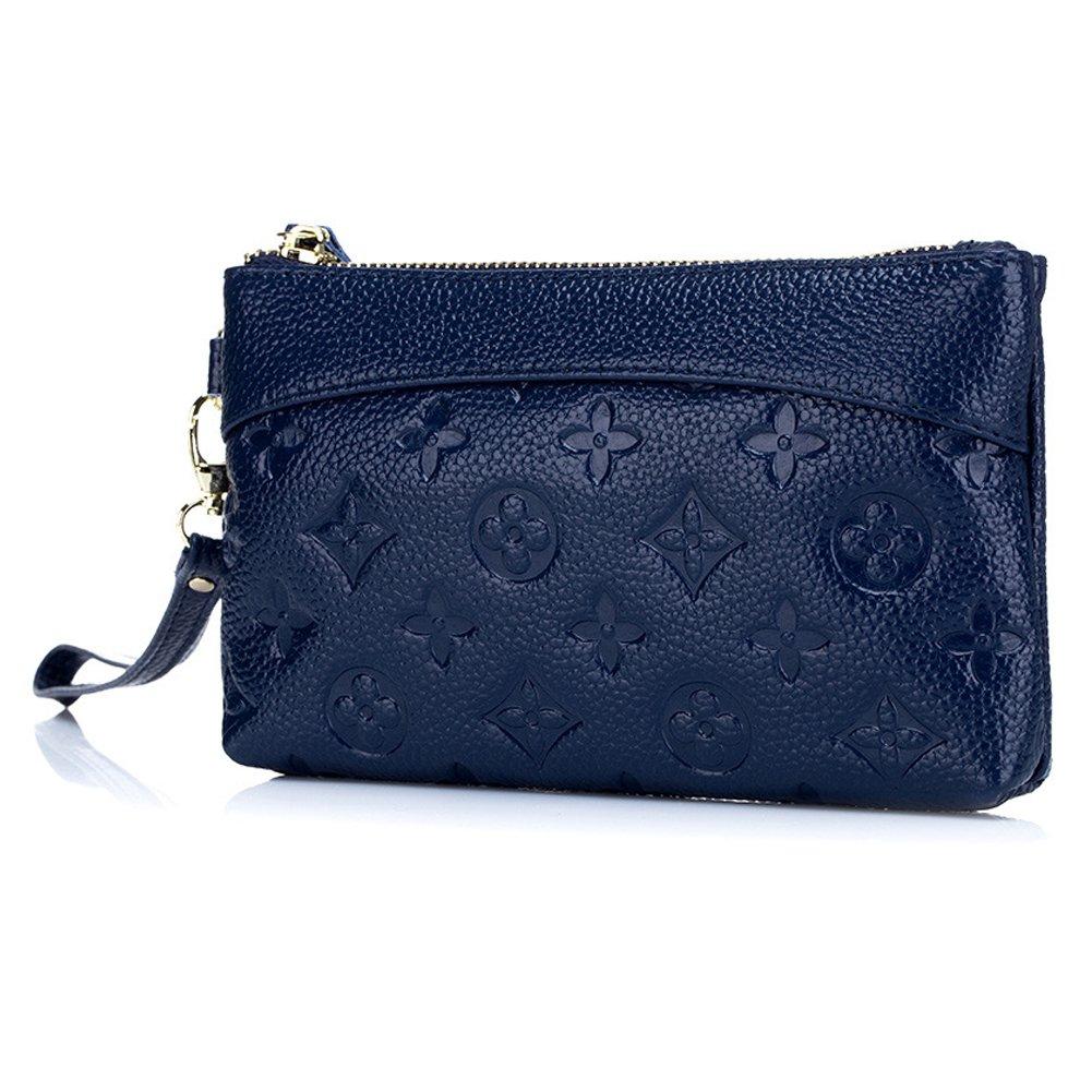 Women's Genuine Leather Cell Phone Wristlets Wallet,Welegant Versatile Zipper Clutch Purse Bag (Embossed Pattern, Navy Blue)