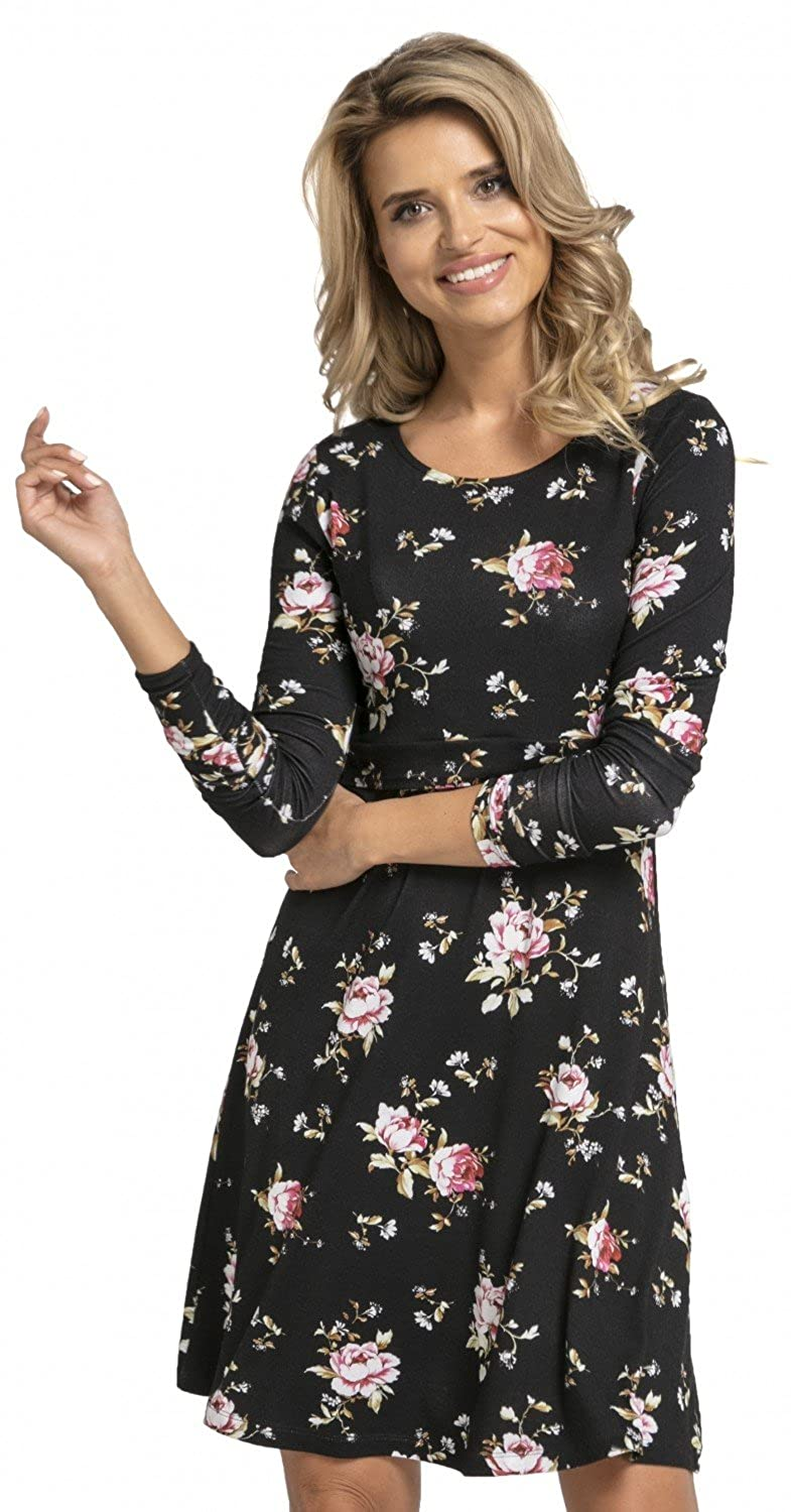 77e9657859 Beautiful maternity skater dress with long sleeves and an original layered  design with a concealed cut-out for easy and discreet breast feeding.