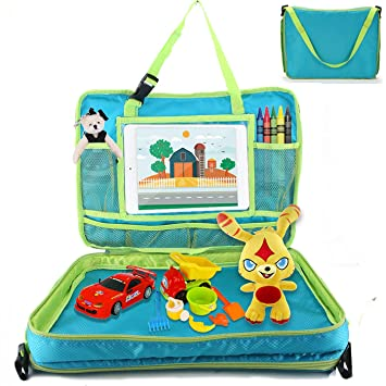 Portable Trip Accessory Children Activity Tray Table Lap Desk Pink elebaby Boys Girls Travel Play Tray Kids Car Seat Tray Organizer with Multi-pockets