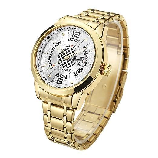 WEIDE - Reloj analógico de cuarzo para hombre con calendario solar y fecha, correa de acero inoxidable: Amazon.es: Relojes
