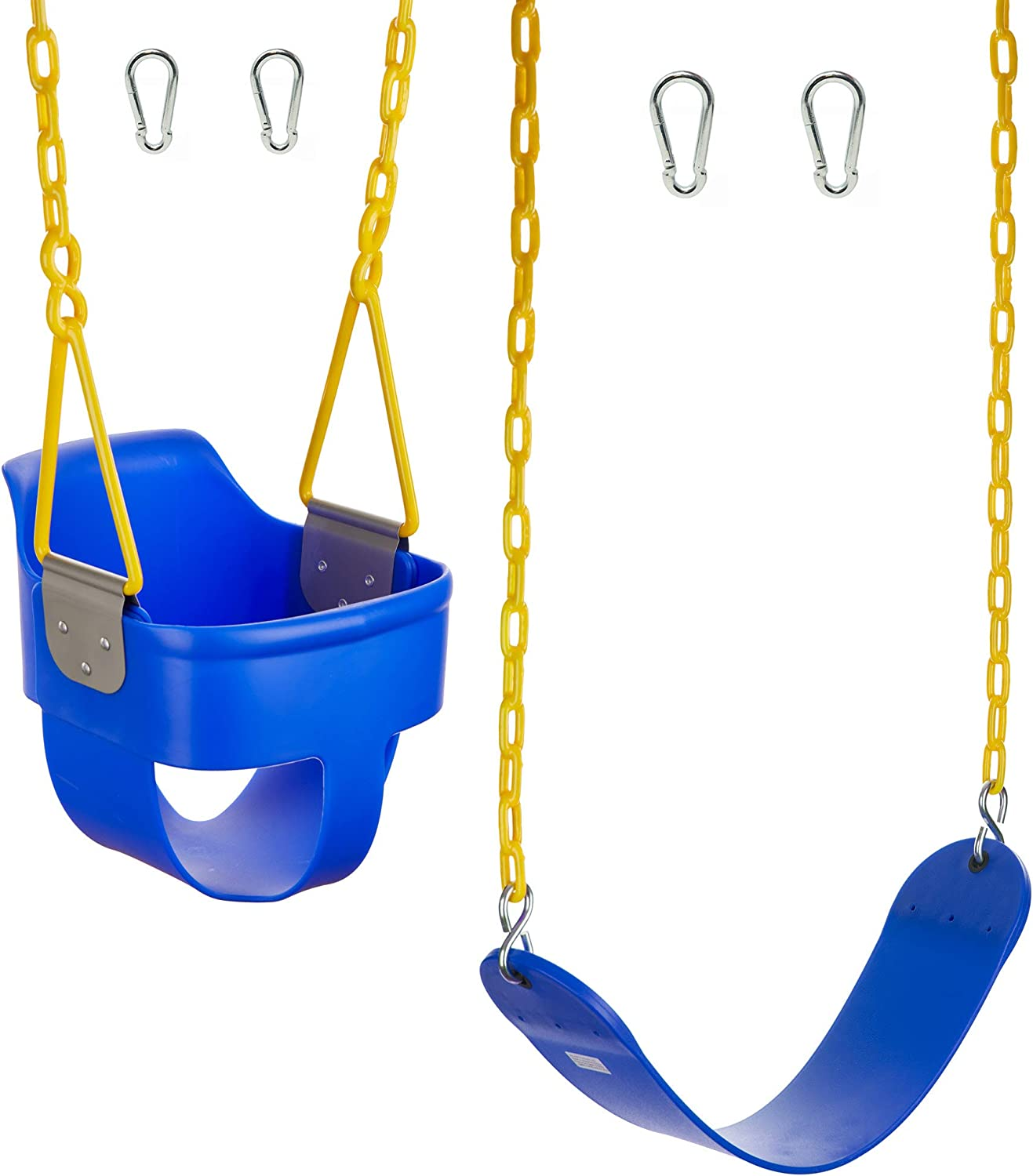 Squirrel Products High Back Full Bucket Swing 2.0 with Triangle and Chain Dip and Heavy Duty Swing Seat Combo Pack with Carabiners - Blue