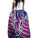 JUTOO Moda para Mujer Ocio Flor Africana Falda Larga Cintura Alta Falda Larga de una línea