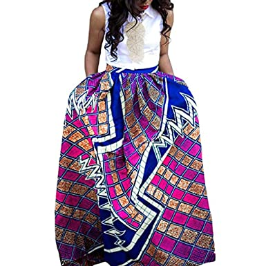 e93c06175d2 Women s African Floral Printed Maxi Skirt High Waist A-Line Long Skirts  Dashiki Prom Party
