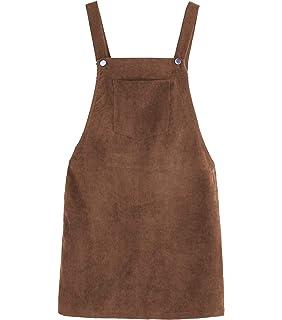 efc1ef77ffe Women Suspender Dress A-Line Strap Corduroy Pinafore Mini Denim Overalls  with Bib Pocket