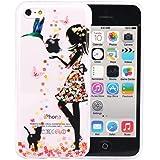 iPhone 5c Hülle, JIAXIUFEN Neue Modelle TPU Silikon Schutz Handy Hülle Case Tasche Etui Bumper für Apple iPhone 5C - Flower Small Girl