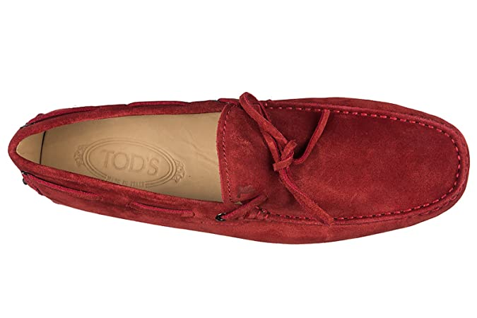 Amazon.com | Tods Mens Suede Loafers Moccasins Gommini 122 red EU 40.5 XXM0GW05470RE0R007 | Loafers & Slip-Ons