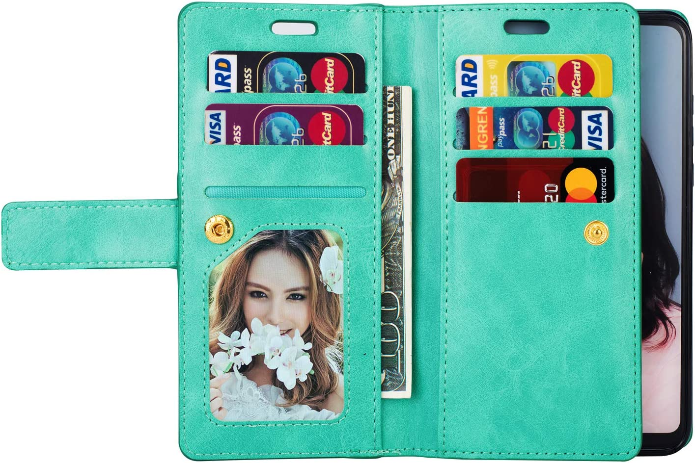 JAWSEU Case Flip Compatible with Huawei P30 Lite Premium PU Leather Wallet Folio Stand Cover Full Body Design Inner Soft TPU Silicone with Card Slots Magnetic Closure Protective Flexible Cover,Blue