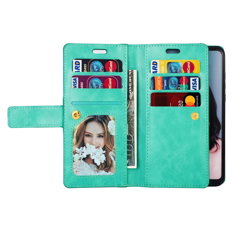 9 Kartenf/ächer Kompatibel mit Huawei P30 Lite H/ülle,Kompatibel mit Huawei P30 Lite Case Leder Magnetische Flip Case PU Leder Handyh/ülle Multifunktions Tasche Klapph/ülle Schutzh/ülle,Blau Felfy