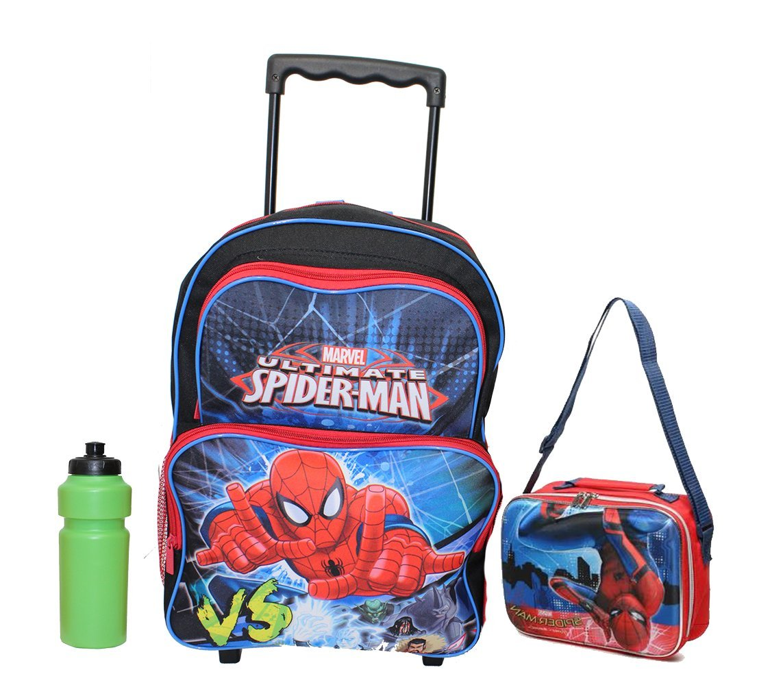 Amazon.com | NEW Spiderman Large Rolling Backpack with lunch ...