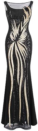 851435e205cea Angel-fashions Women's Sheer Gold Sequined Black Splicing Evening Dress