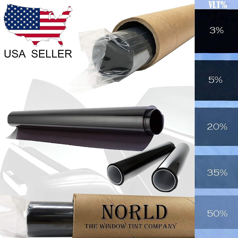 Norld 35/% 24 in x 10 Ft DIY Professional Adhesive Window Tint Film Uncut Roll Norldinc