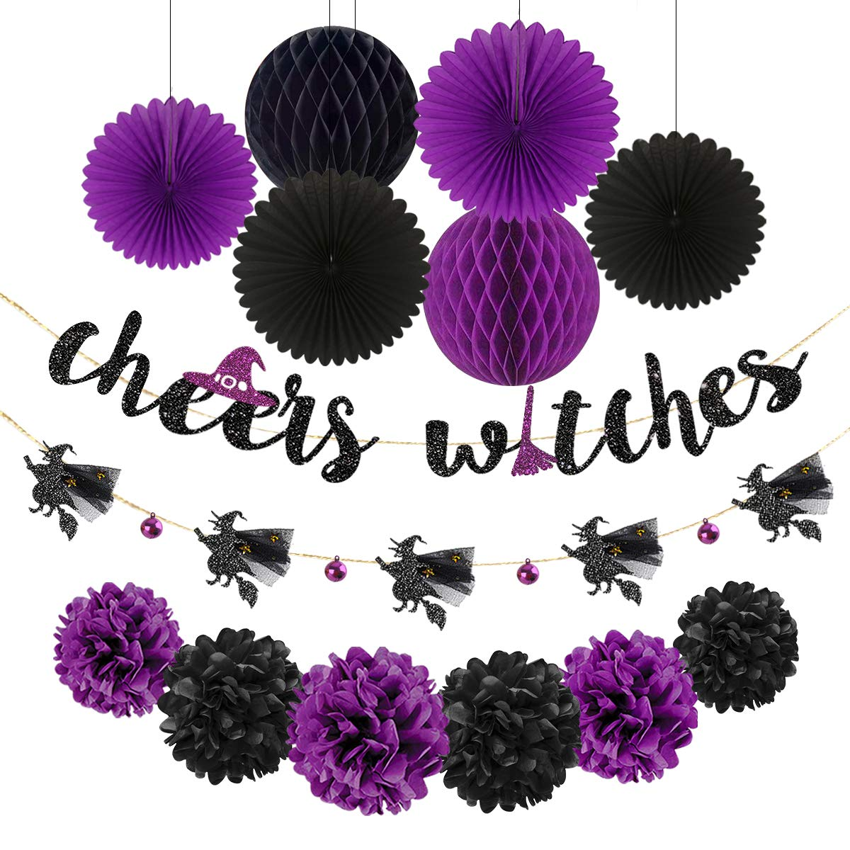 Halloween Banner Kit Black Purple Cheers Witches Garland Banner Paper Fans Pom Poms Flowers Lantern Honeycomb Ball for Halloween Birthday Bachelorette Engagement Hen Party Decorations Supplies by pinkblume