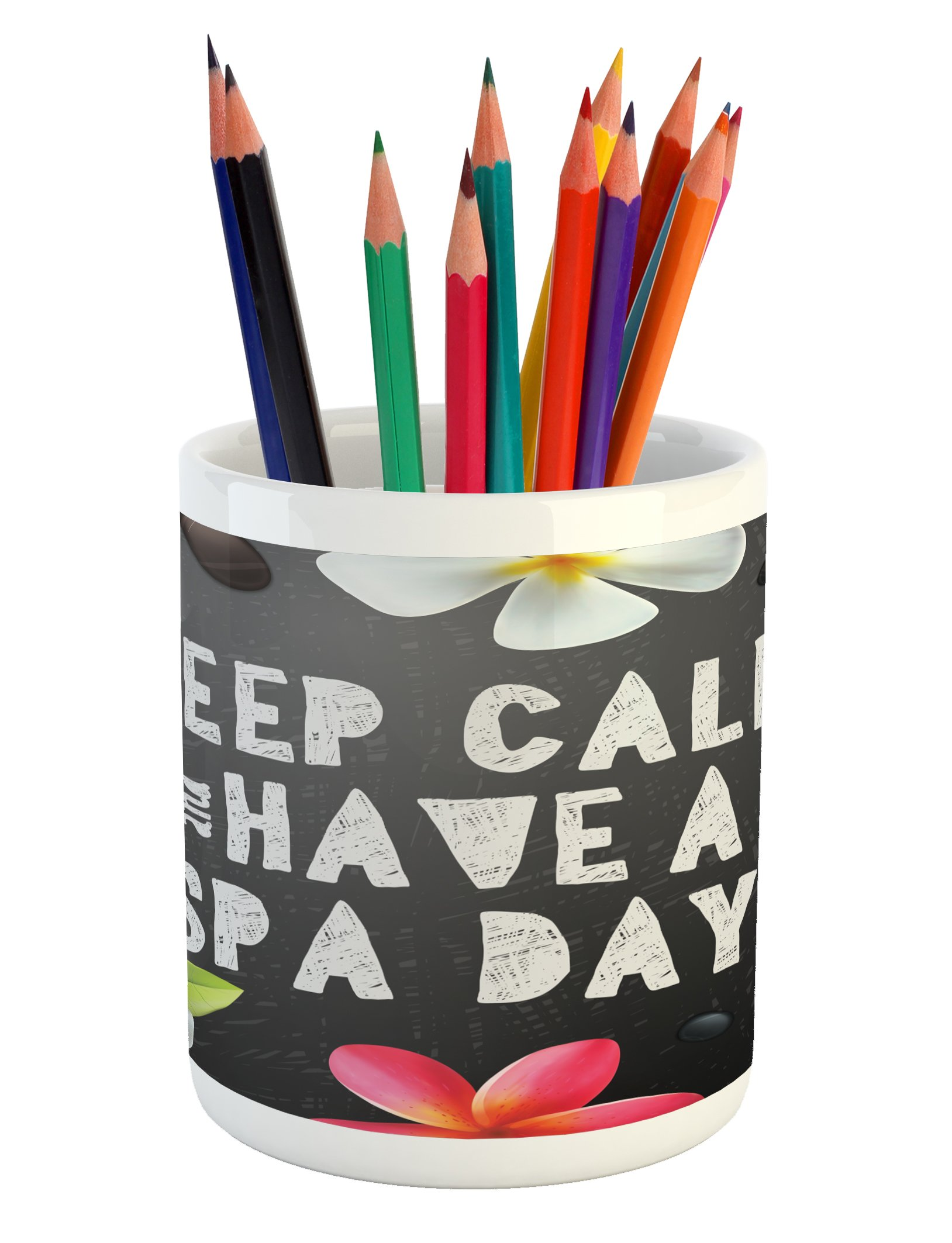Ambesonne Zen Pencil Pen Holder, Keep Calm Have a Spa Day Quote Healthcare and Beauty Treatment Graphic Stones Flowers, Printed Ceramic Pencil Pen Holder for Desk Office Accessory, Multicolor