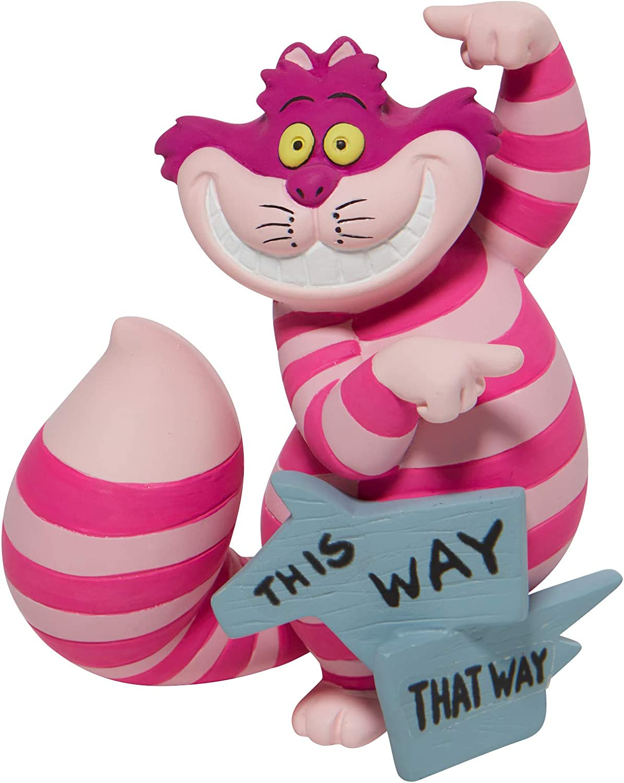 Enesco Alice in Wonderland Disney Showcase Cheshire Cat This Way Miniature Figurine, 3.35 Inch, Multicolor