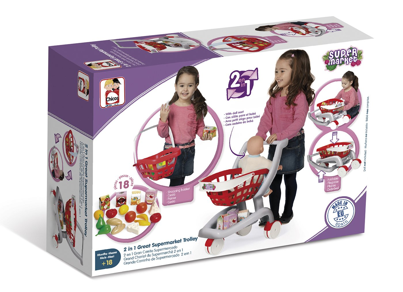 Chicos 2 en 1 Mi Primer Carrito de Supermercado, (84158): Amazon.es: Juguetes y juegos
