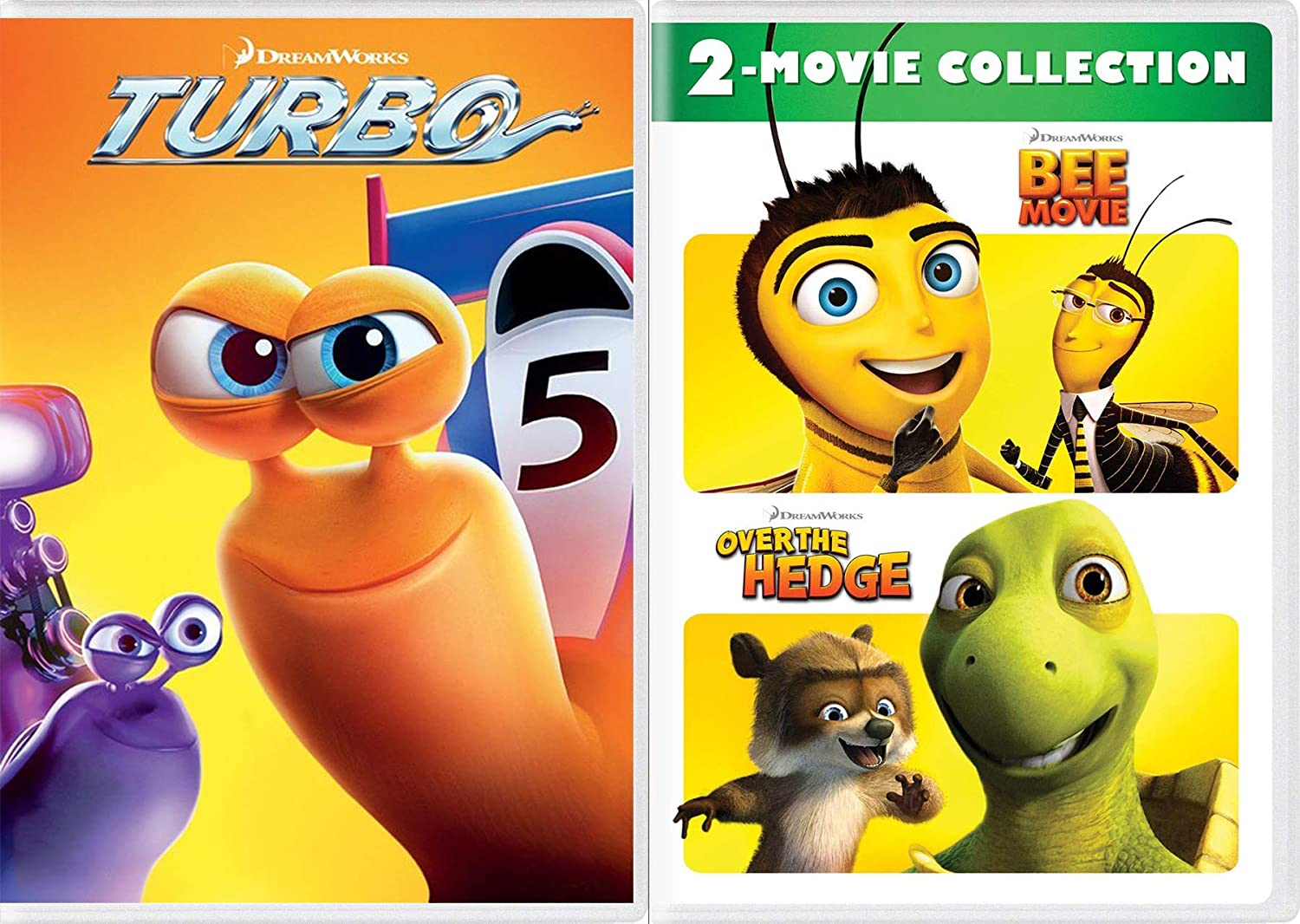 Amazon.com: Snails Pace Cartoon Movie Set Turbo + Over the Hedge & Bee Movie DVD Dreamworks Animated Triple Feature Family Fun Set: Movies & TV