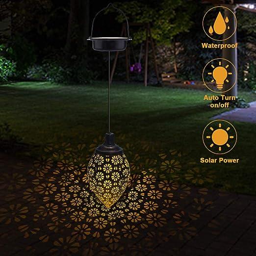 Farolillos Solares Exterior Jardin, Linterna Solar Luces Blancas, Lampara Solar Exterior Led Impermeable, Luces Solares Decoración para Patio Jardín Césped: Amazon.es: Iluminación