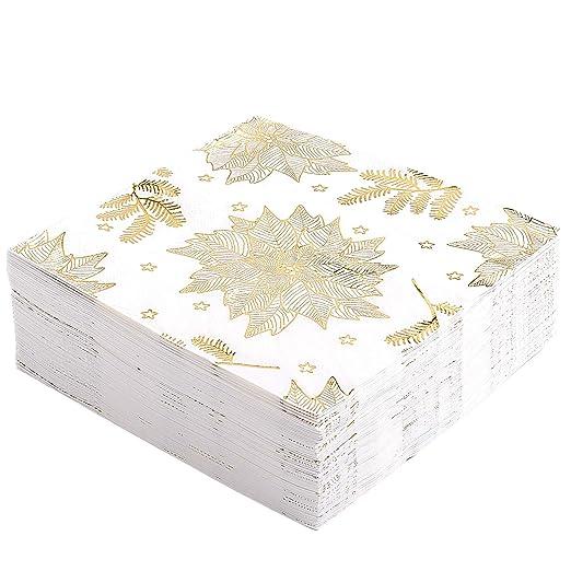 Servilletas de papel Whaline de Navidad, color blanco con ...