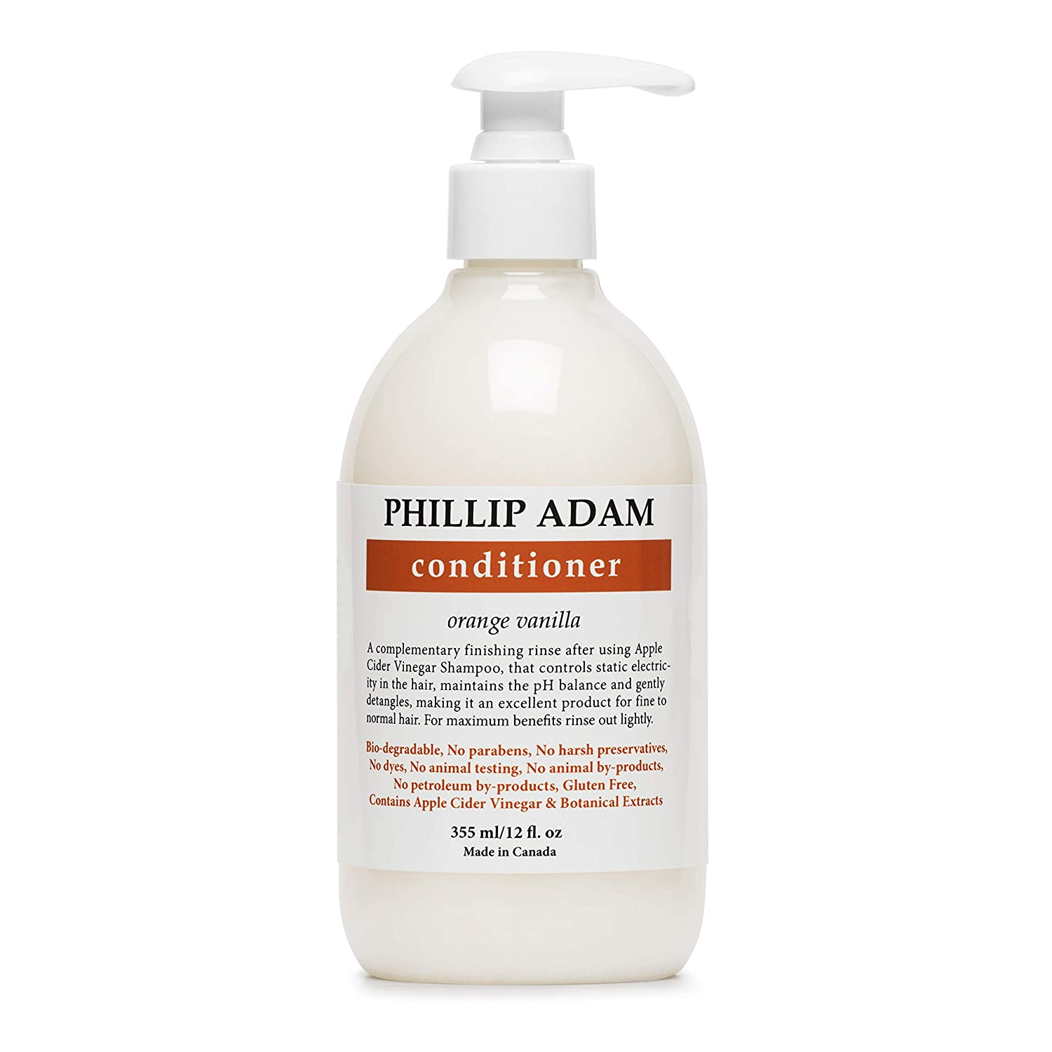 Phillip Adam Orange Vanilla Conditioner for Smooth and Shiny Hair - No Harsh Chemicals - Safe for Color Treated Hair - Delicious Natural Scent - 12 Ounce